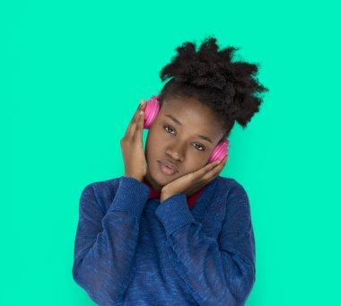 African american woman in headphones