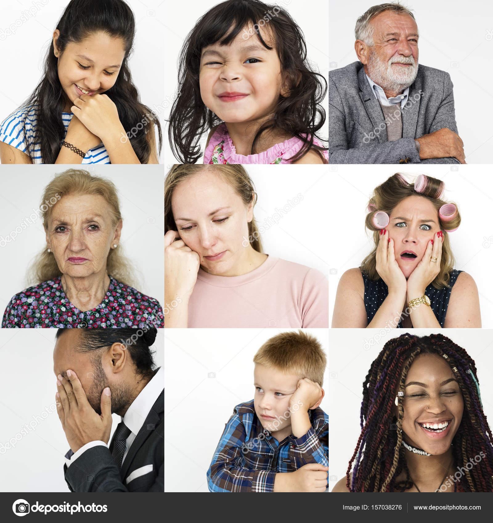 Conjunto De Personas De La Diversidad Con Las Emociones Fotos De