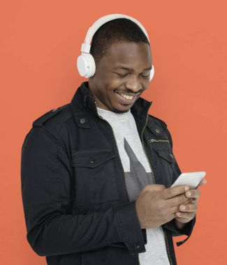Man in headphones listening music