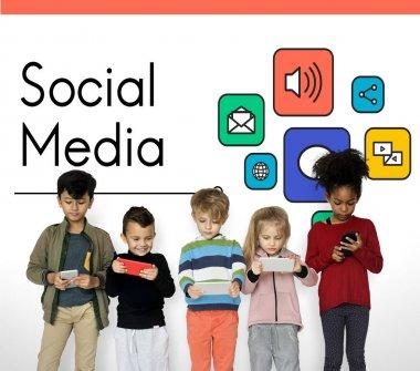 little children using digital devices