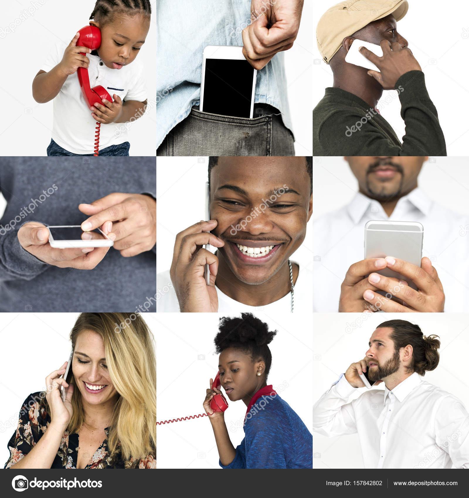 Olika Personer Använder Telefon Stockfotografi Rawpixel 157842802