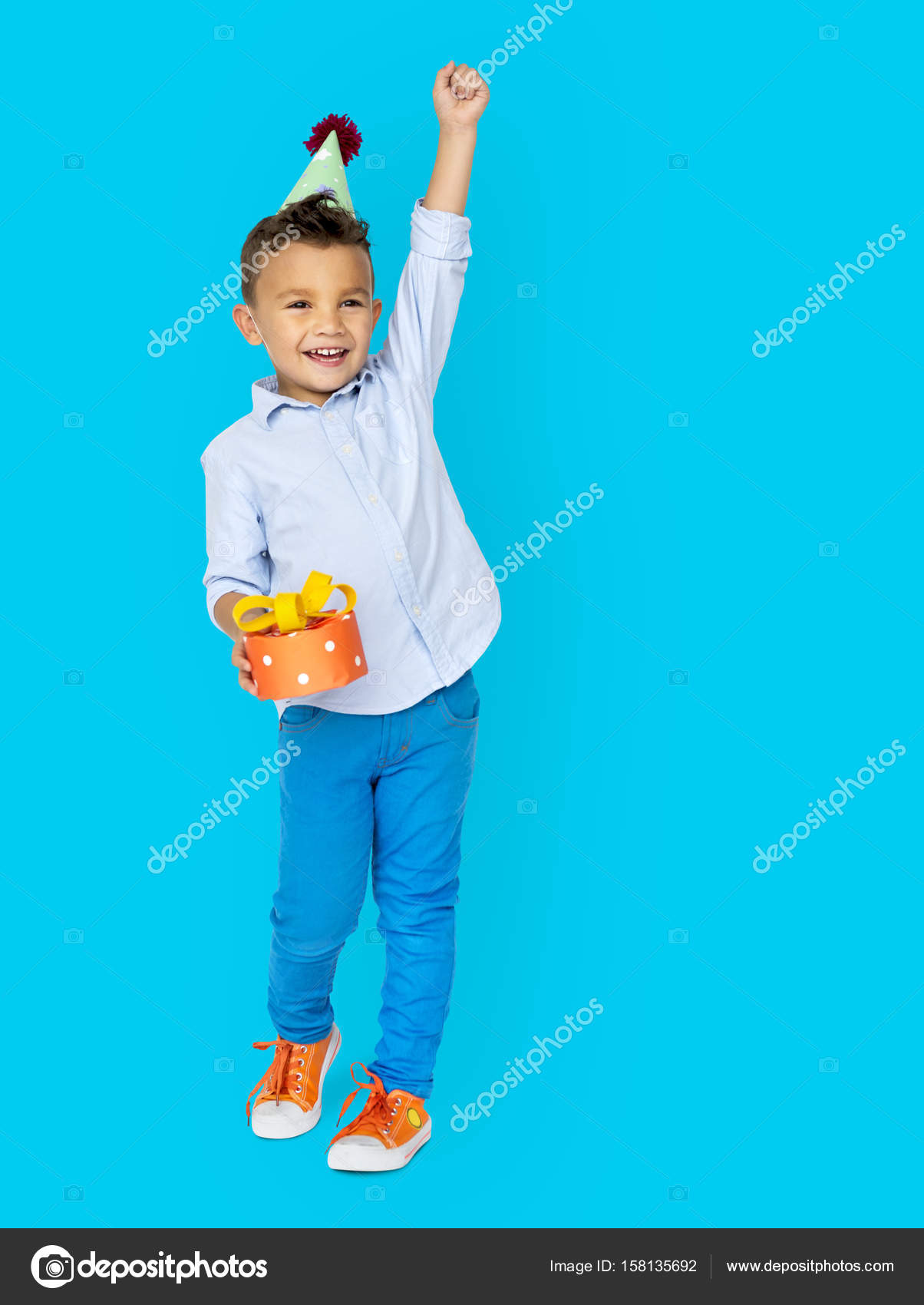 Adorable Little Boy In Birthday Hat With Gift Box Photo By Rawpixel