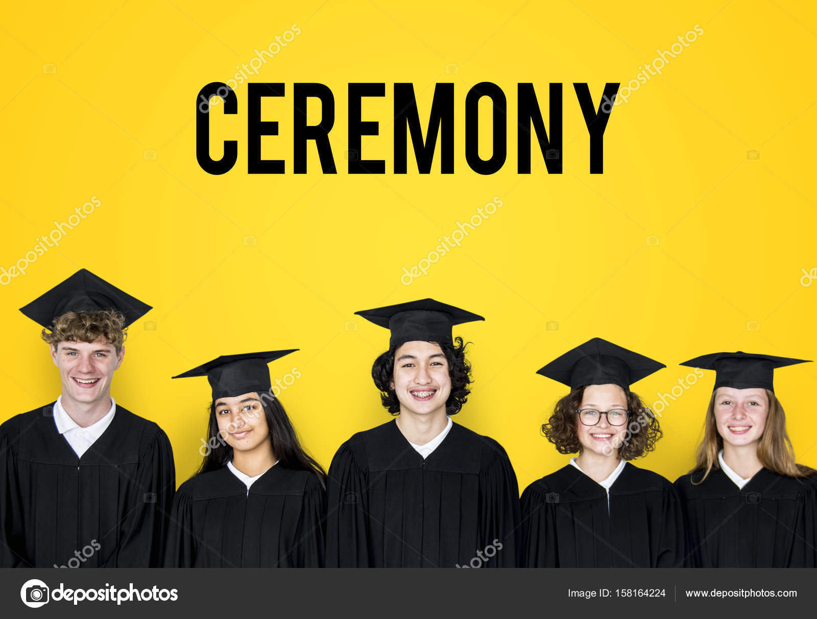 students wearing graduation caps and gowns — Stock Photo © Rawpixel ...