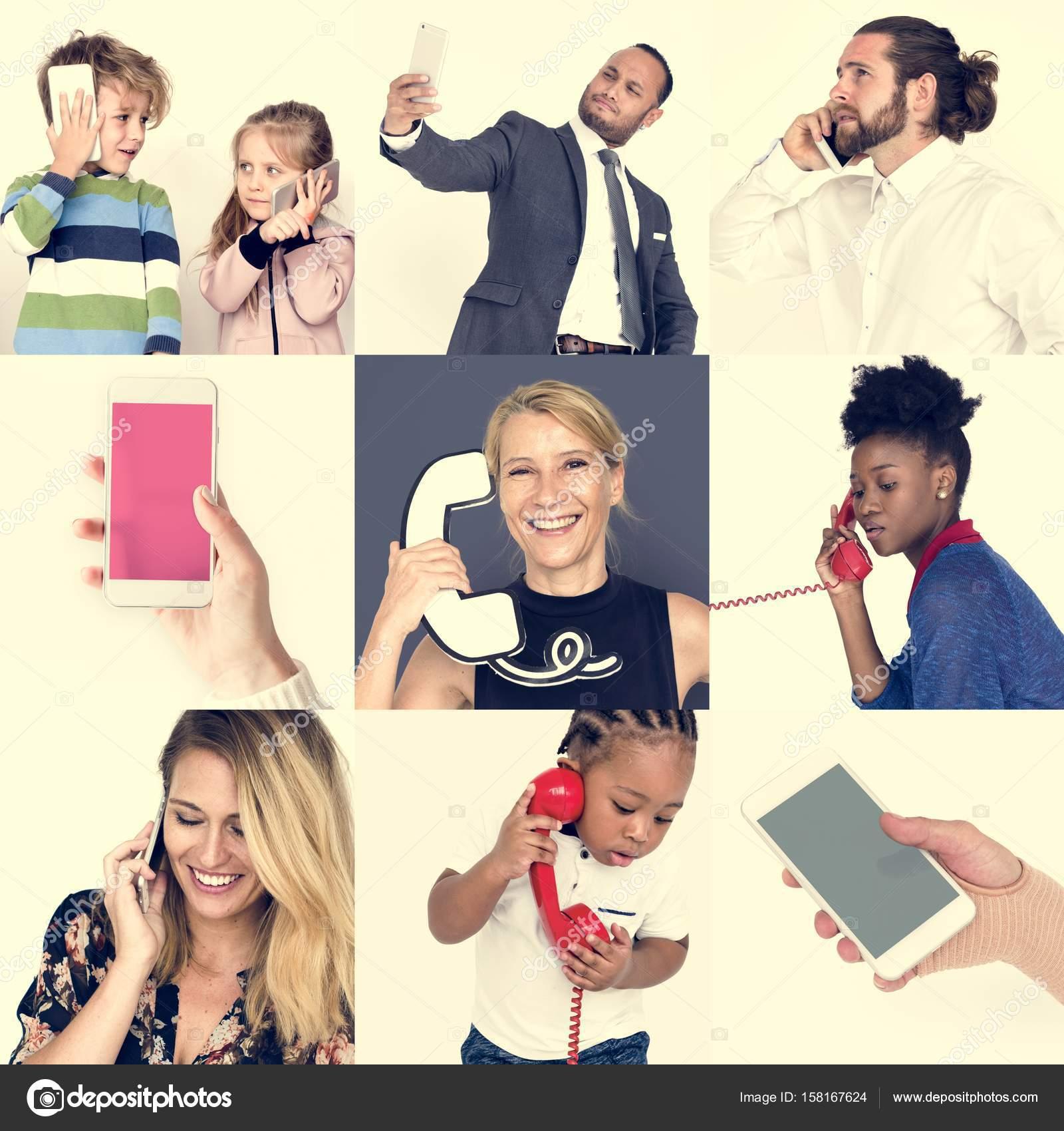 Olika Personer Använder Telefon Stockfotografi Rawpixel 158167624