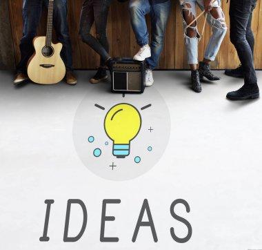 Music band and Ideas Light Bulb
