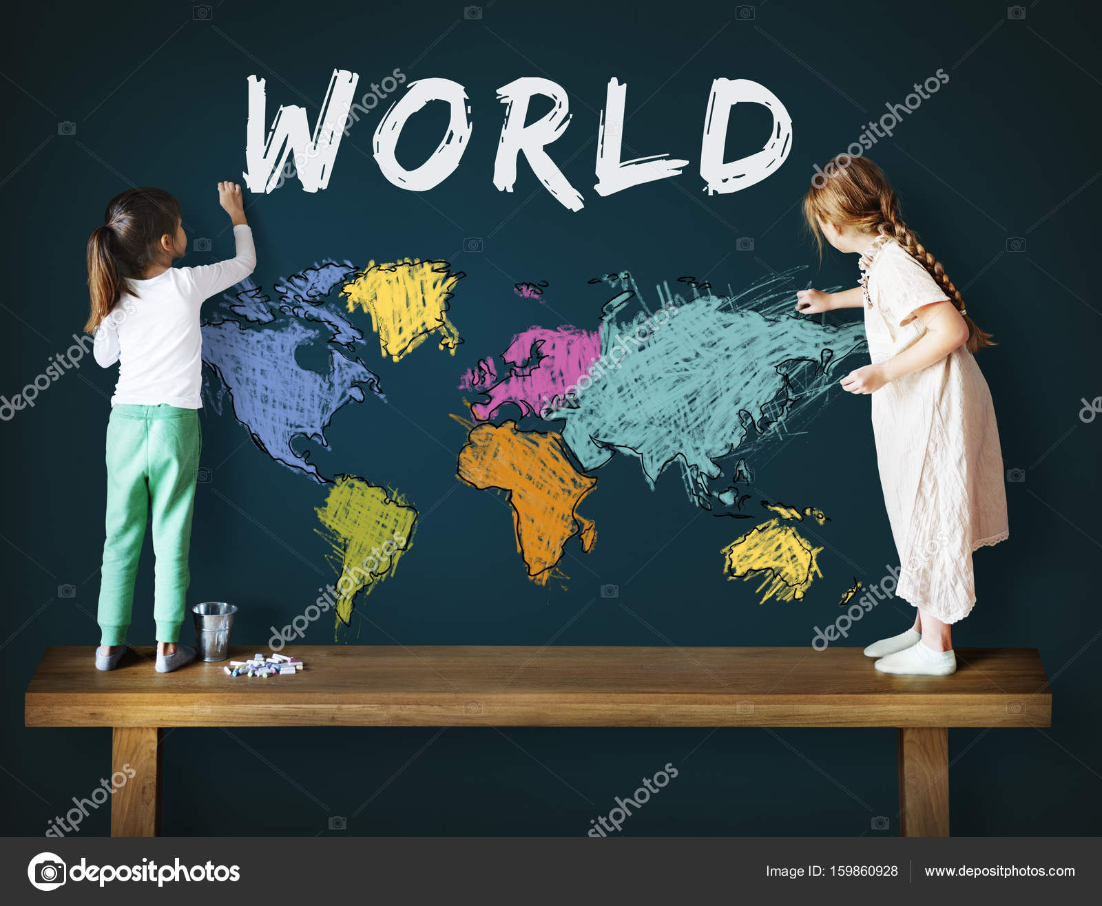 Girls drawing world map stock photo rawpixel 159860928 girls drawing world map stock photo gumiabroncs Image collections