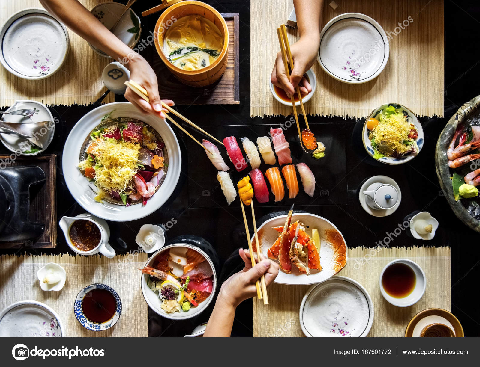 People Eating In Japanese Restaurant Stock Photo C Rawpixel 167601772