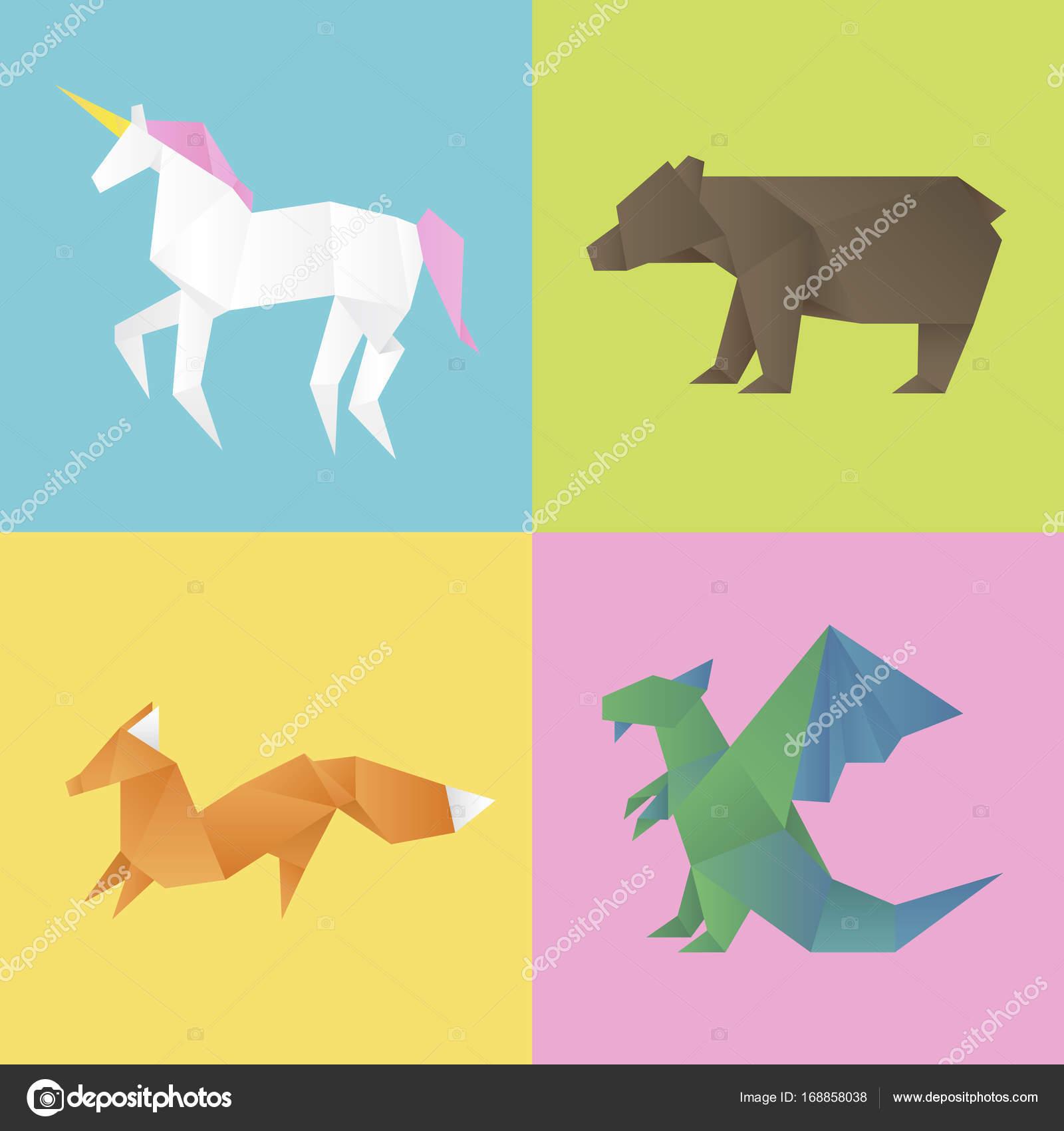 Imágenes Animales Hechos Con Figuras Geometricas Origami En Forma