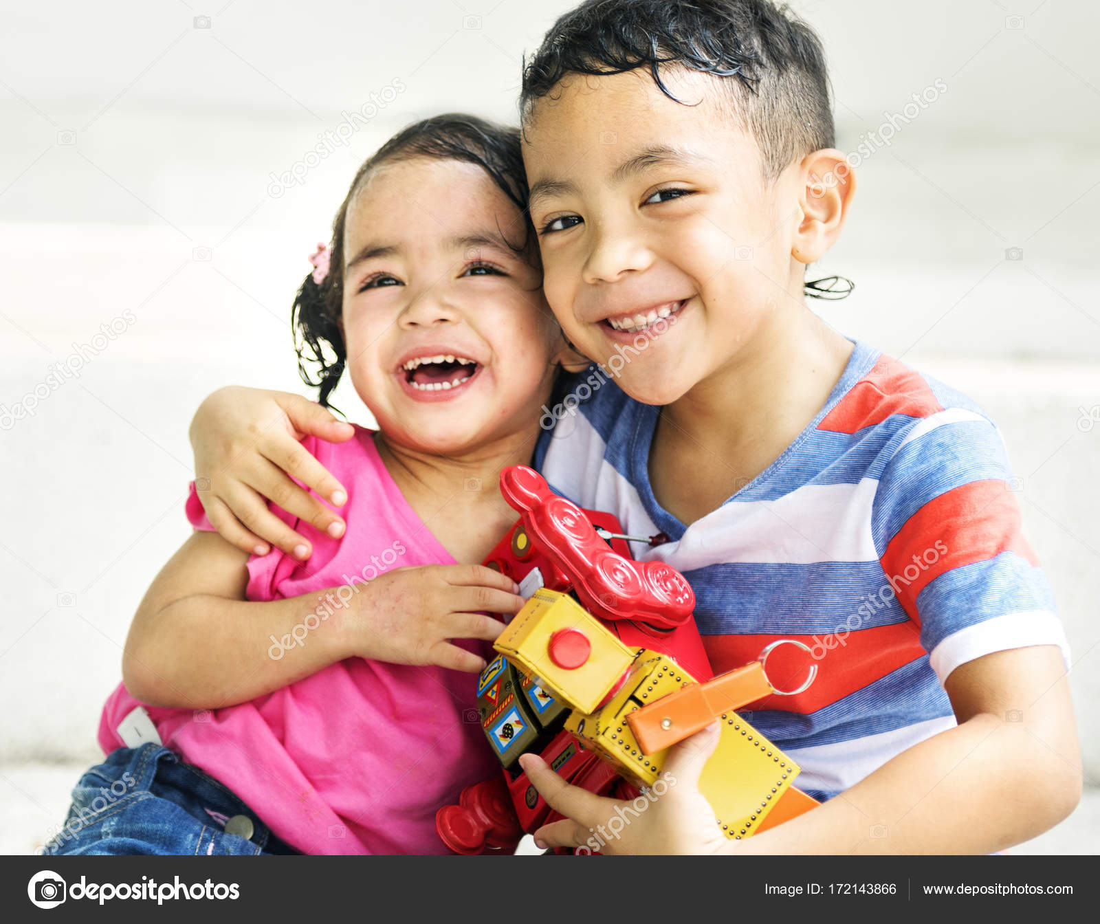 Cute Brother Sister Playing Toys Together Original Photoset Stock