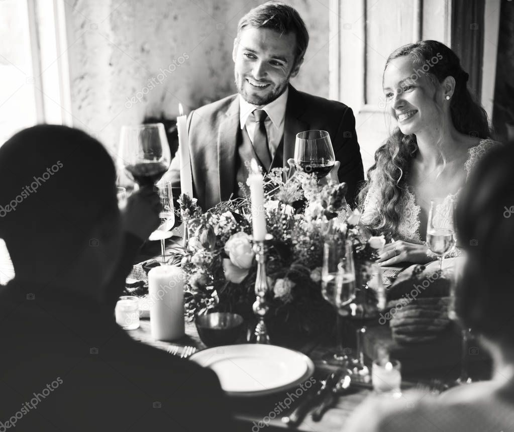 Bride and Groom Clinging Wineglasses with Friends on Wedding Reception, original photoset