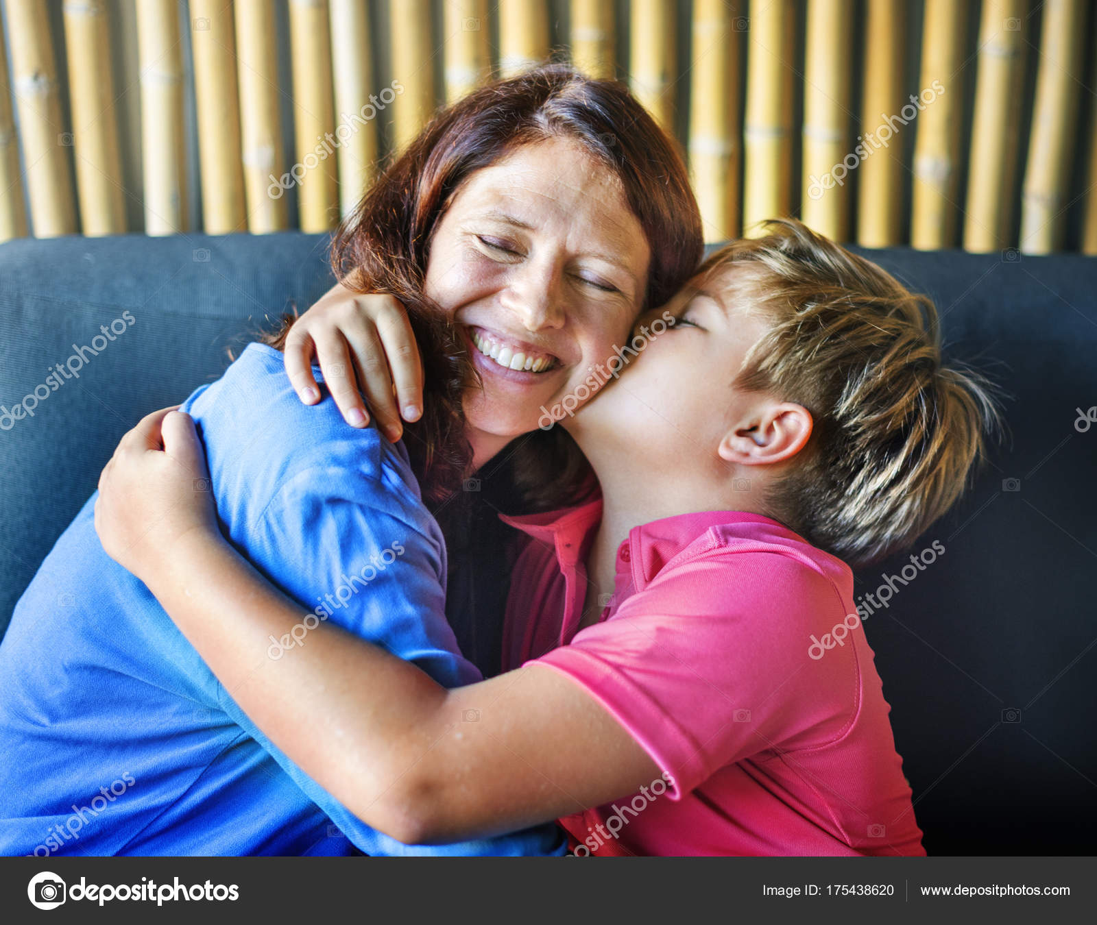 Happy Mom Son Home Boy Kissing Mother Original Concept Stock Photo