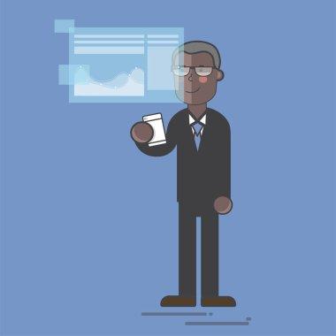 Businessman in a digital presentation