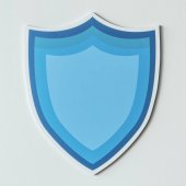 Fotografie Blue protection shield icon isolated