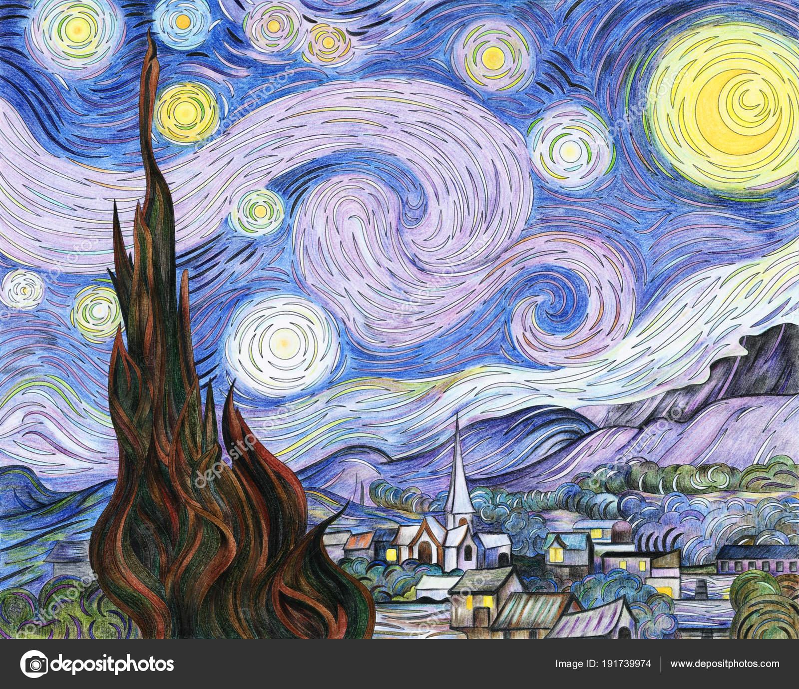 Adulto Noche Estrellada Van Gogh Para Colorear Página — Fotos de