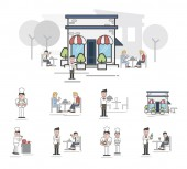 ilustrace koncept restaurace vzor