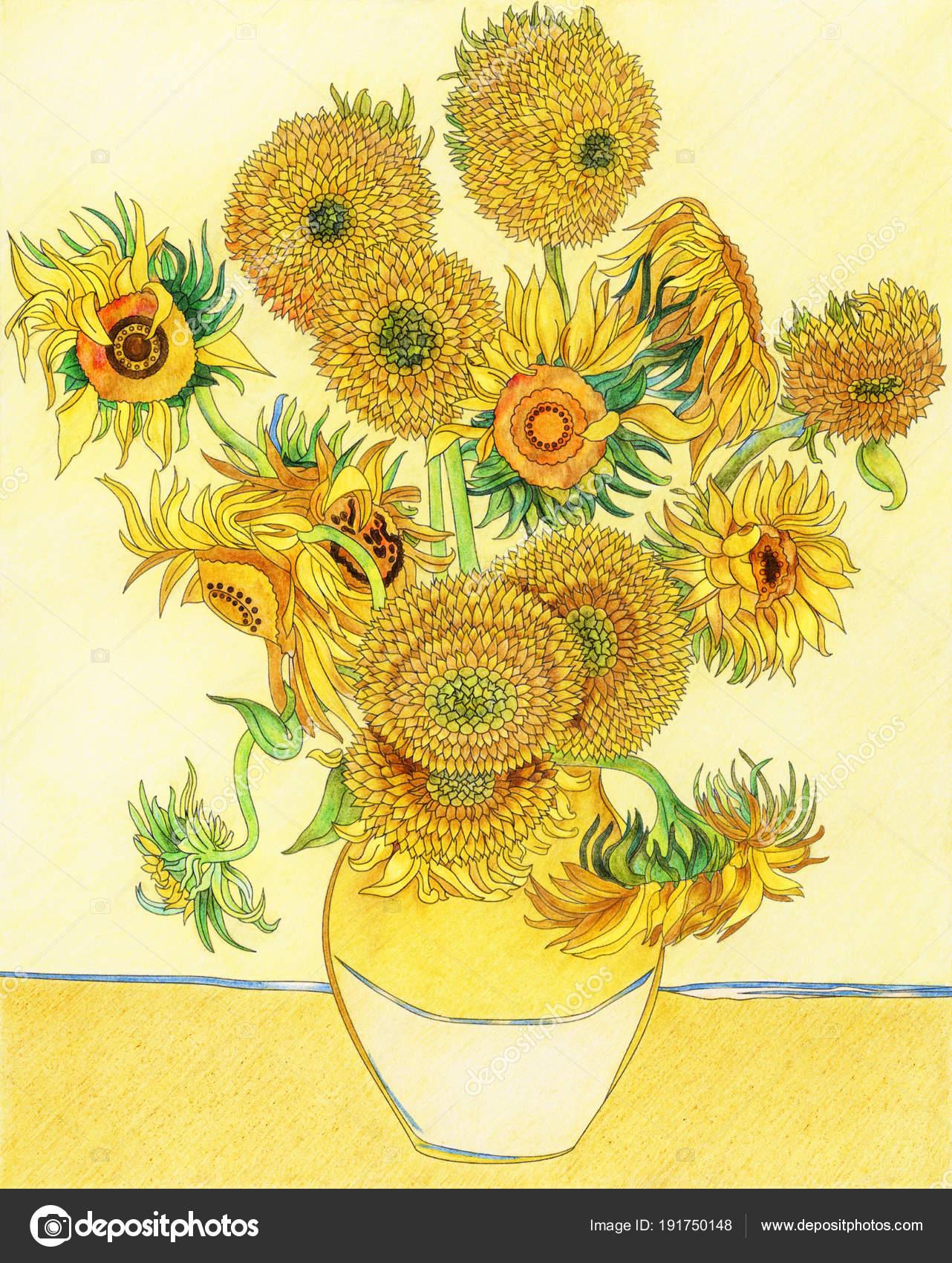 Kleurplaten Zonnebloemen.Van Gogh Zonnebloemen Volwassen Kleurplaat Stockfoto C Rawpixel