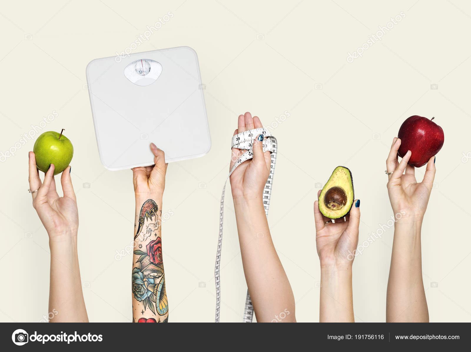 cropped image people hands raised holding different stuff stock