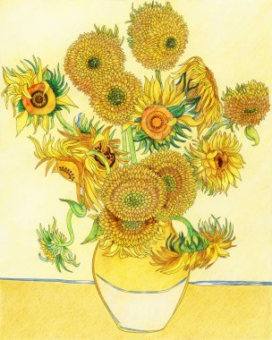 Van Gogh's Sunflower adult coloring page