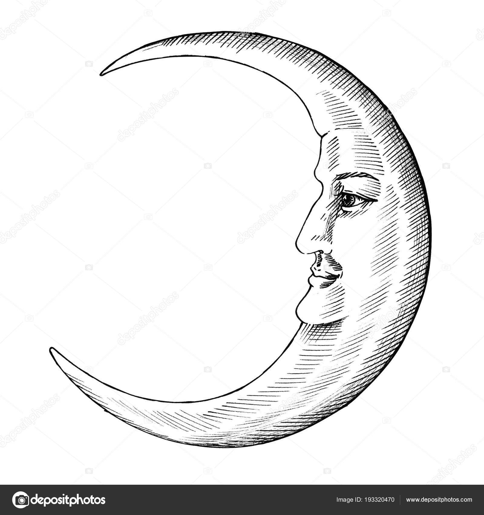 Hand Drawn Moon Face Stock Photo