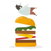 Illustration of people with fastfood application