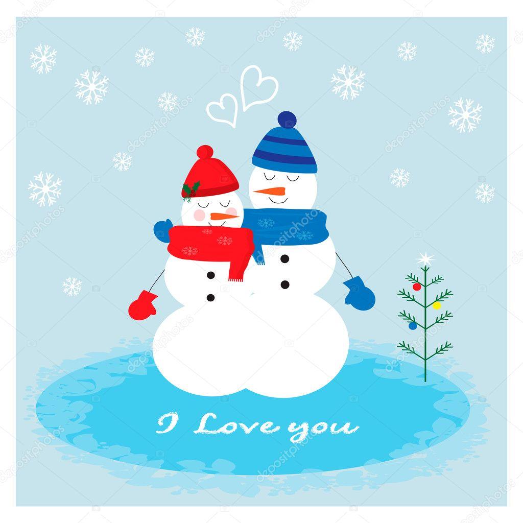 愛かわいい雪だるまと snowwoman のカップルのクリスマス イラスト