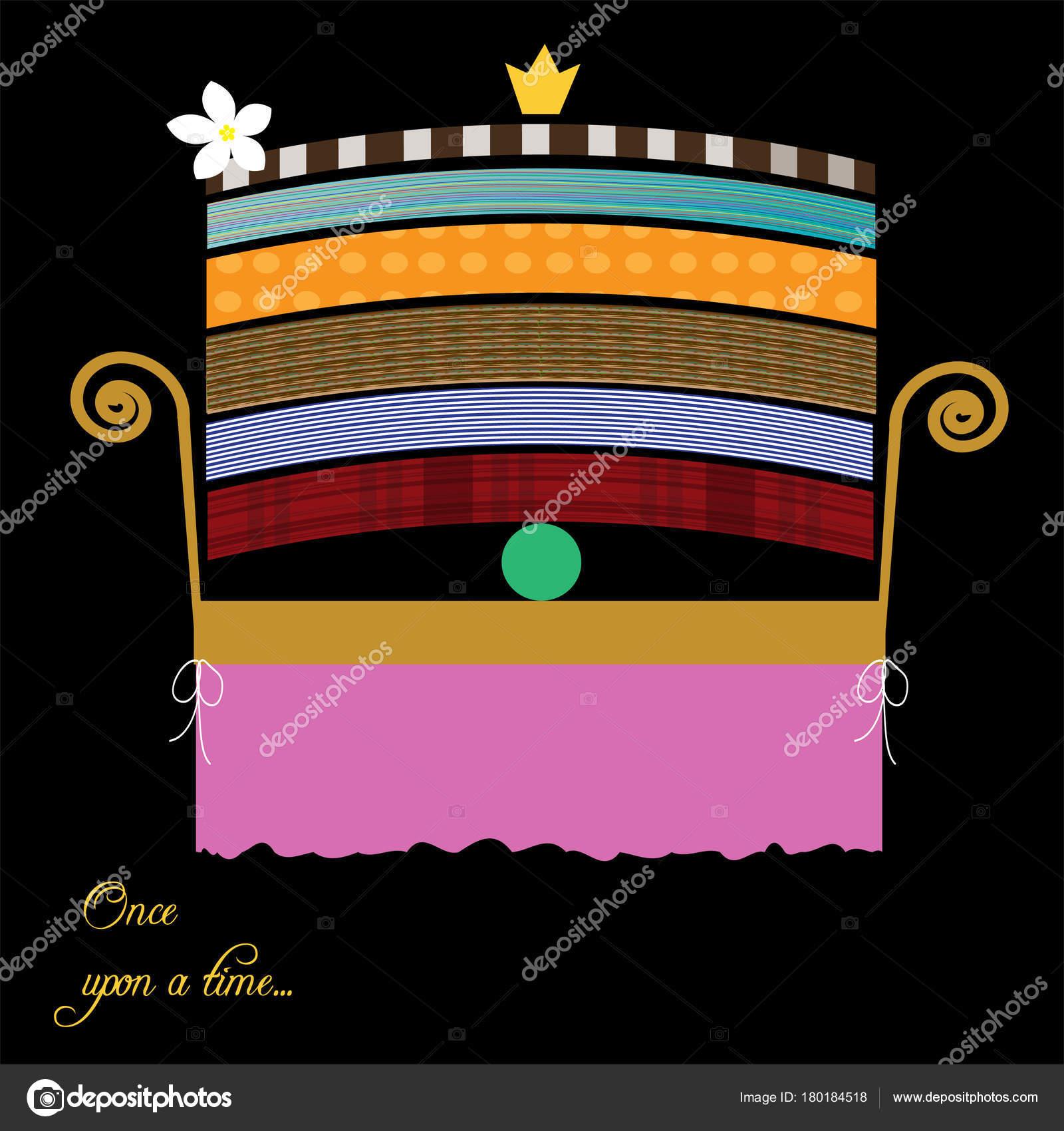 Prinzessin auf der erbse bett  Ein Kinderbett Für Die Prinzessin Illustration Für Ein Märchen ...