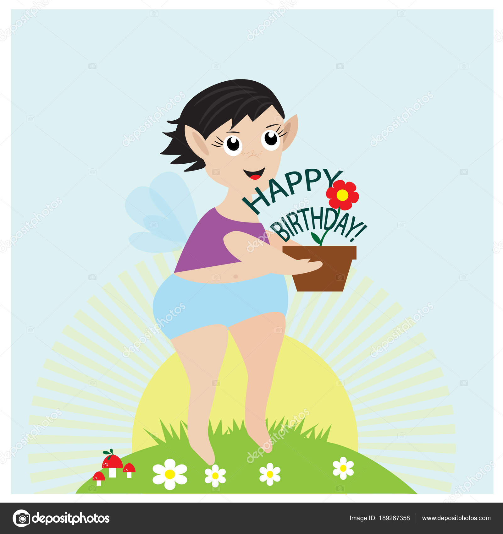 Greeting birthday card cute little fairy flower pot stock vector greeting birthday card cute little fairy flower pot stock vector izmirmasajfo