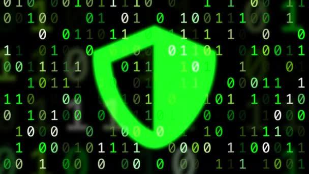 Az adatok a számítógép bit és pattogó zöld pajzs szimbólum fogalom