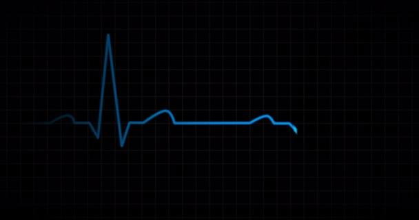 Heart beat EKG monitor blue