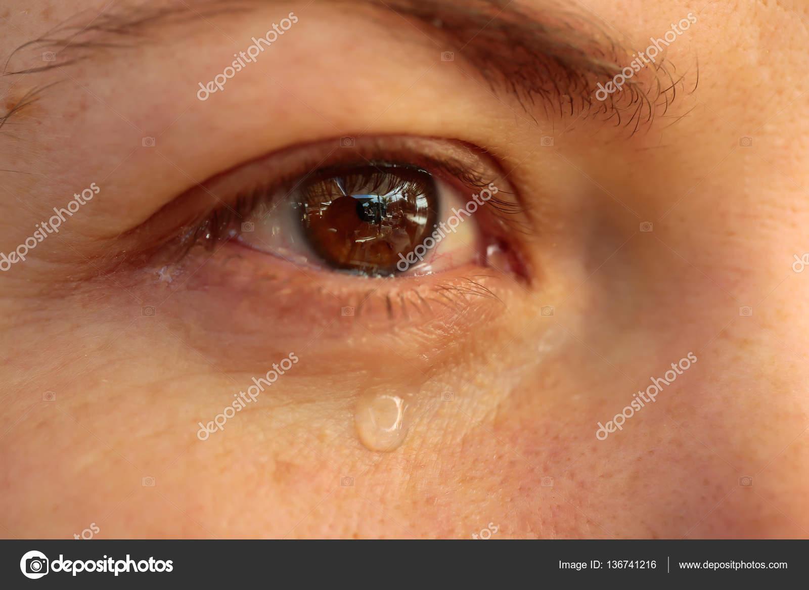 Cerca Del Ojo Con Lágrimas Lágrima En El Ojo De La Mujer Grito De
