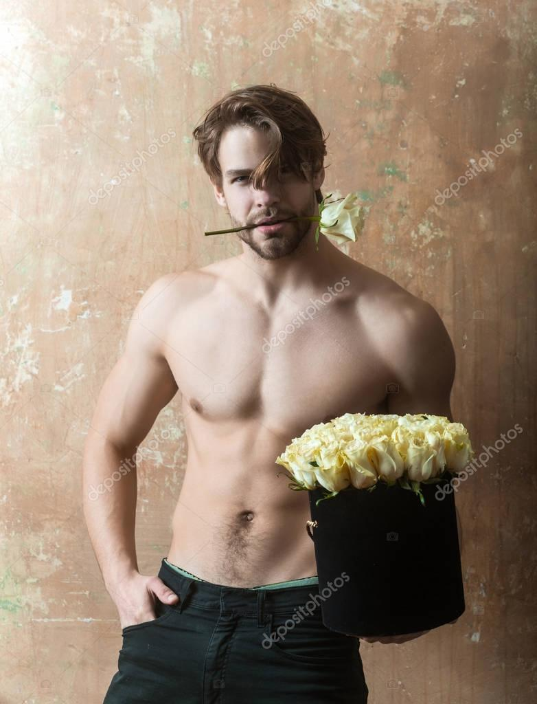 Nude guy with rose 3
