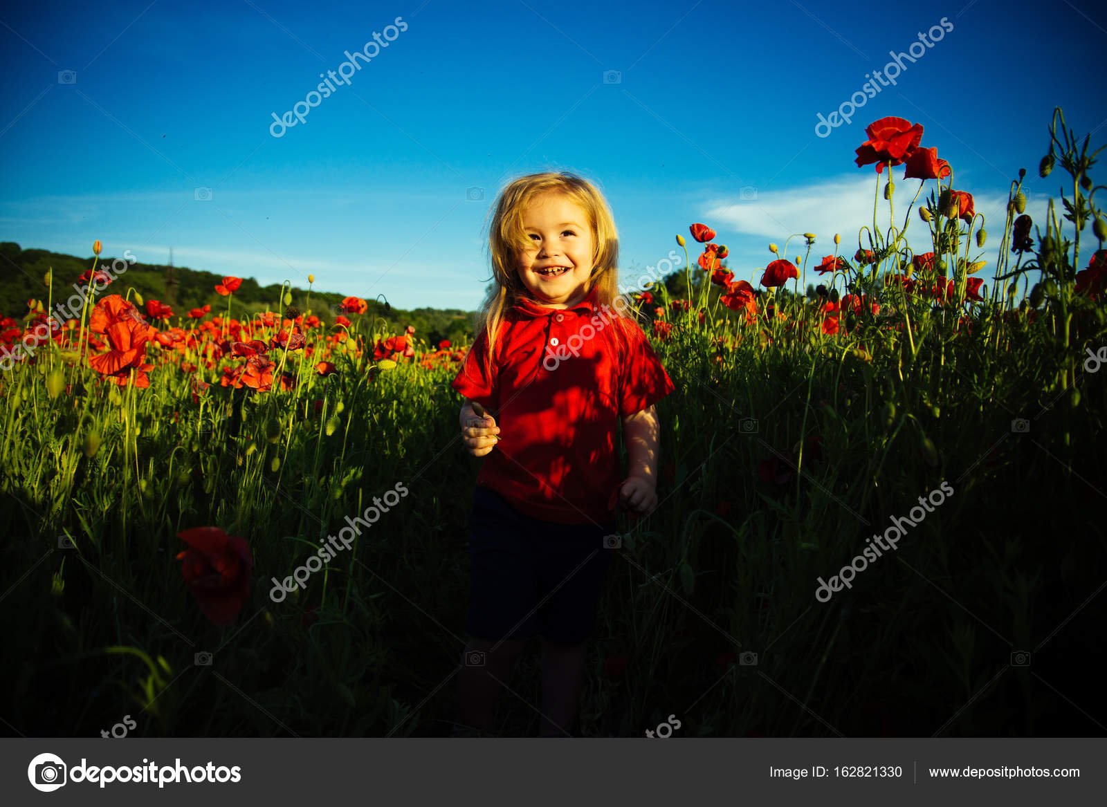 Cute Baby Red Flower And Beautiful Field Happy Childhood Sun And