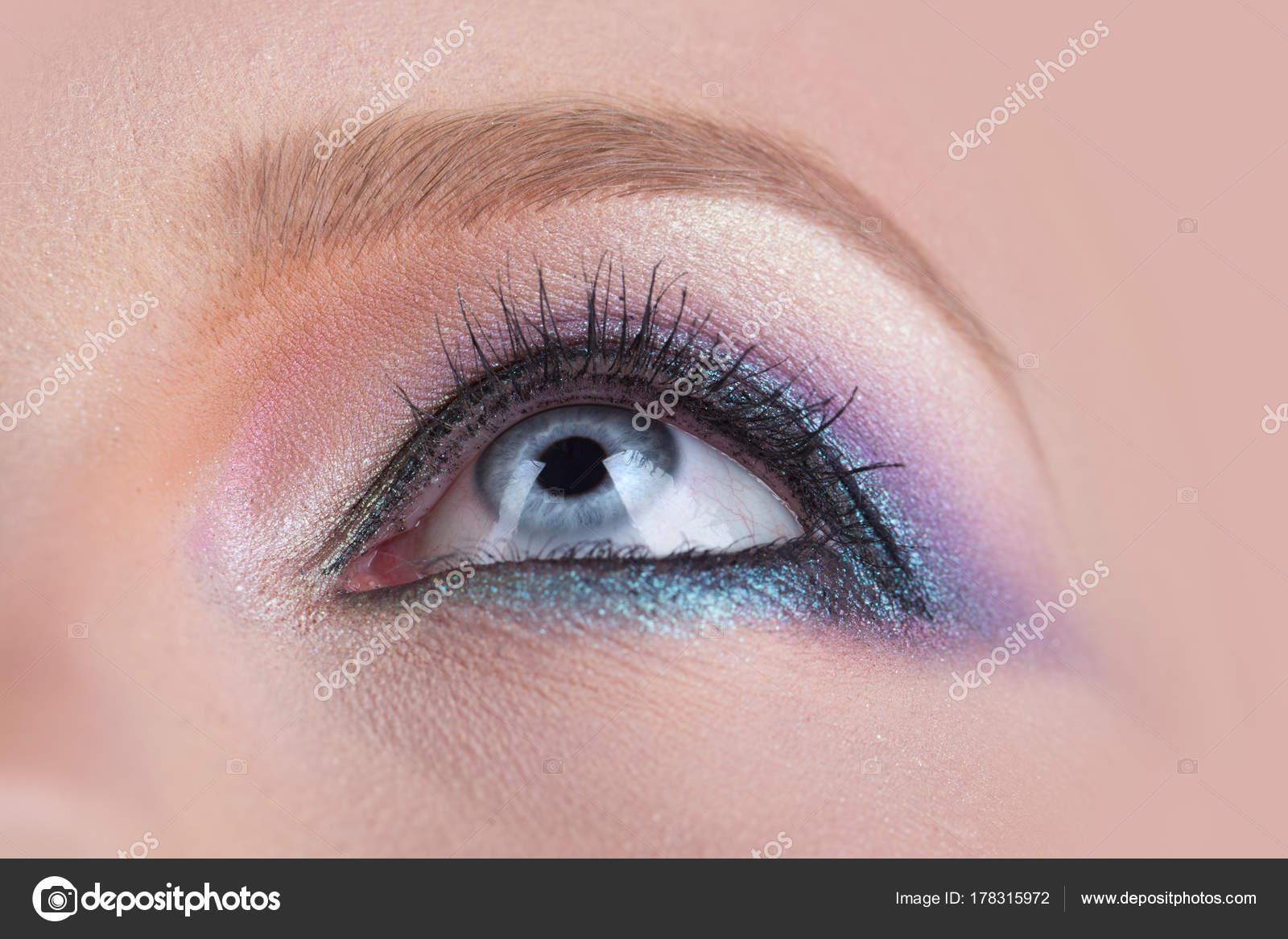 Blaue Augen Rosa Bunten Make Up Nahaufnahme Makro Schöne Frauen