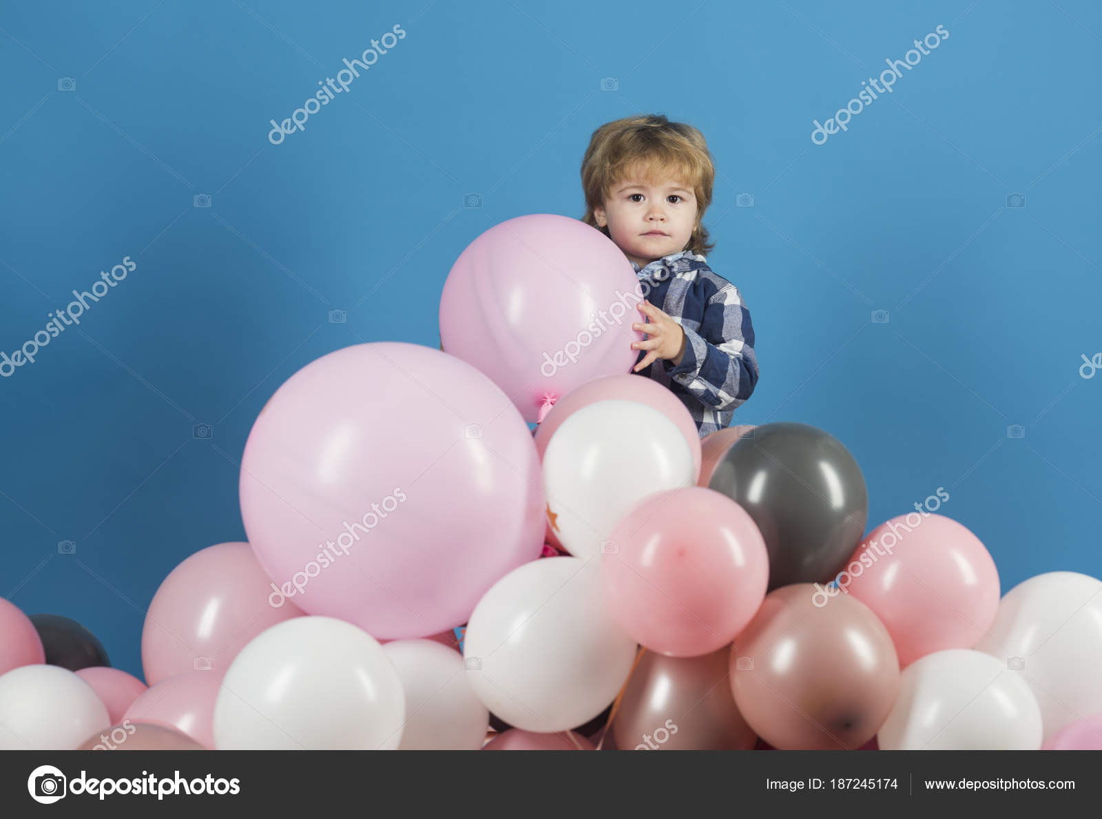 Boy Kid And Mountain Of Pink Balloons Birthday Holiday Or Opening New Children Shop Kindergarten Game Good Mood Child Holding Keeps Ball Toy