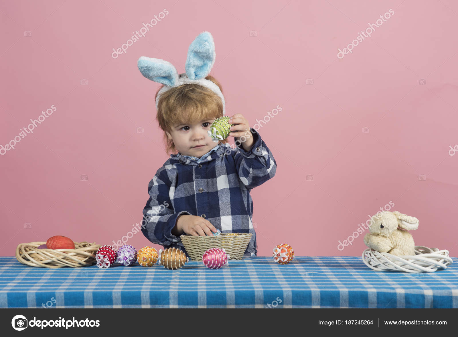 Easter eggs. Concept of a holiday for Easter. Child with festive ...