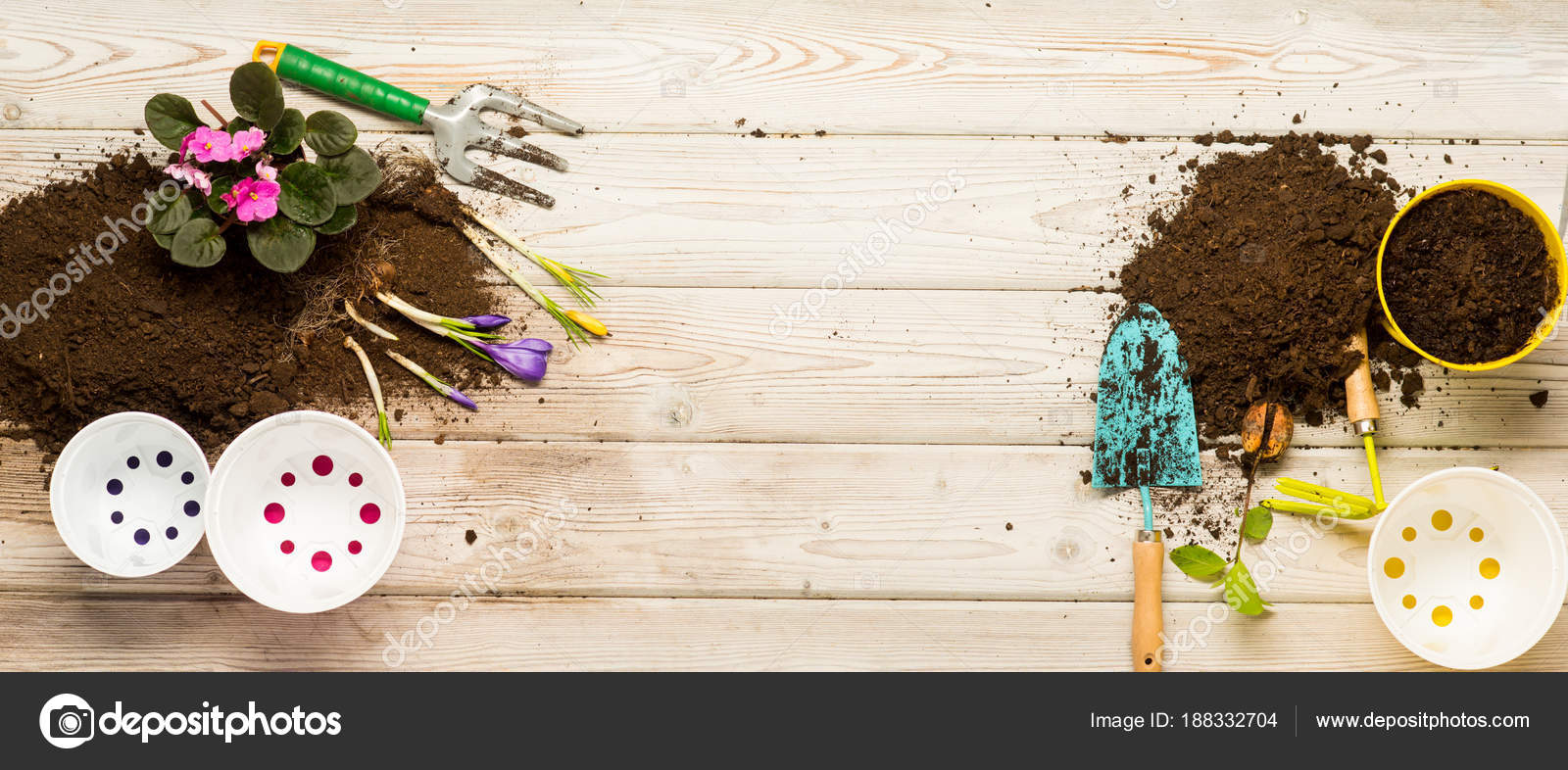 Gardening earth and flowerpots on wooden background spring garden spring garden and greenery in house work of gardener preparation for spring floristics and flower shop florist future flowers and tools photo by mightylinksfo