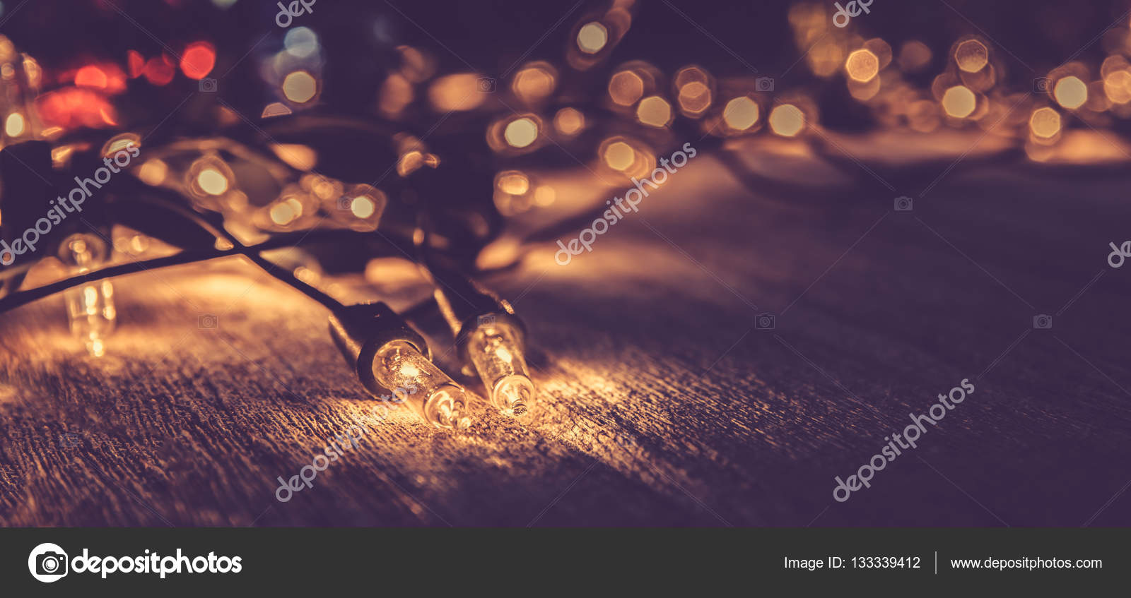 Christmas Light Decor On Wood Background Color Filter Vintage Tone Photo By Slonme