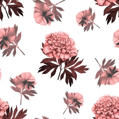 Floral seamless pattern with beautiful blooming peonies . Romantic botanical print. Hand drawn crayon illustration.