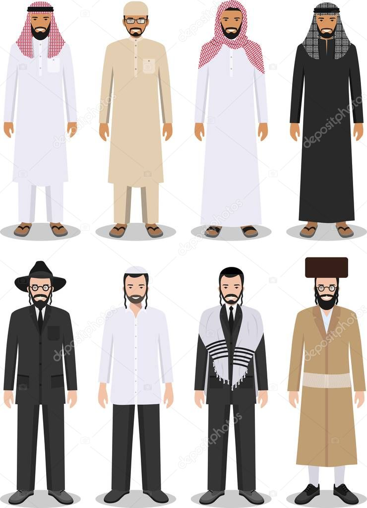 Set of different standing arab and jewish men in the traditional clothing isolated on white background ... & Set of different standing arab and jewish men in the traditional ...