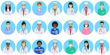 Medical concept. Set of colorful medical staff people in flat style icons: doctors and nurses. Vector illustration. clip art vector