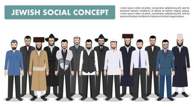 Jewish men standing together in different traditional clothes on white background in flat style. Group adults israel people. Different dress styles. Flat design people characters. Social concept stock vector