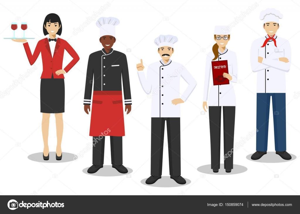 Concepto de equipo de restaurante. Grupo de personajes personas ...