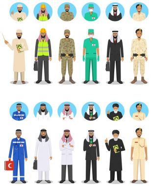 Different muslim Middle East people professions occupation characters man set in flat style. Set of avatars icons. Templates for infographic, sites, banners, social networks. Vector illustration.