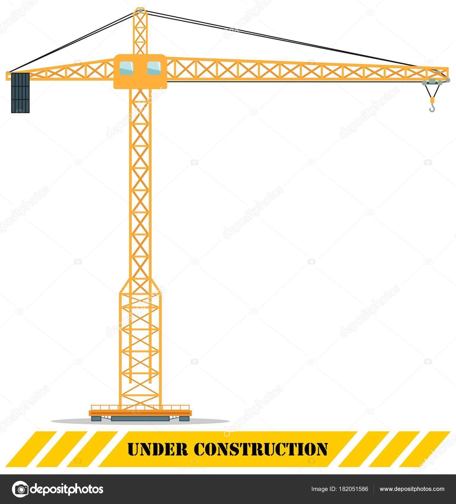 building tower crane heavy construction machines vector