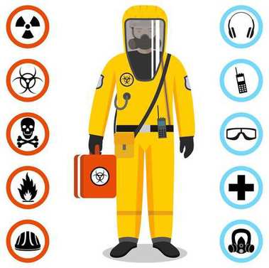 Man in yellow protective suit in flat style. Dangerous profession. Occupational safety and health vector icons. Set of different signs of chemical, radioactive, toxic, poisonous, hazardous substances stock vector