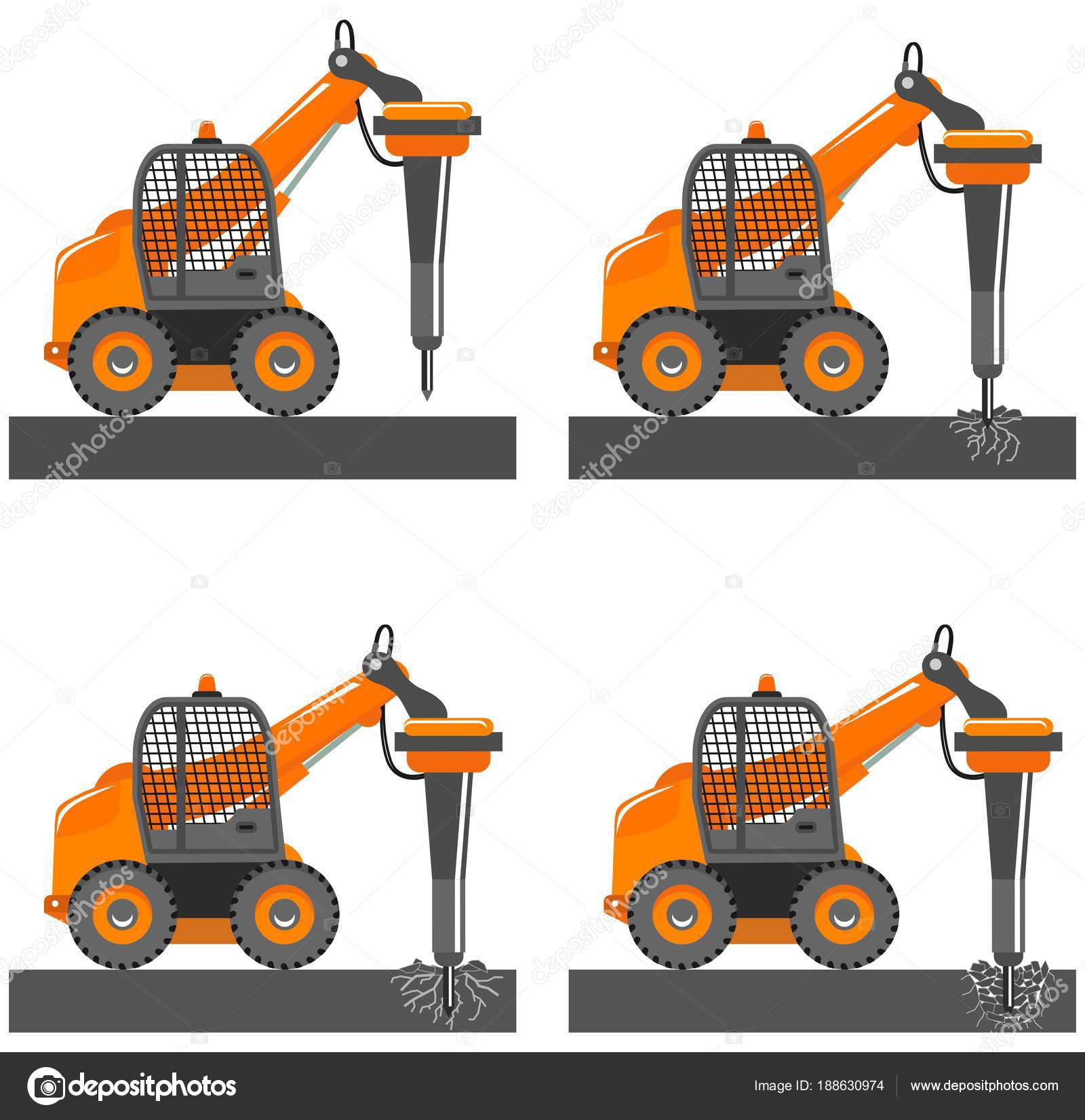 Detailed Illustration Of Car With Hammer Mini Excavator With