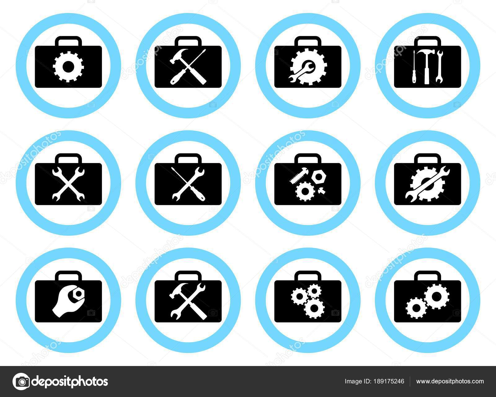 Repair Service Concept Simple Icons Set Wrench Screwdriver Electrical Symbol Icon Isolated On A White Background Stock Hammer Screw Nut Bolt And Gear Services Or Button