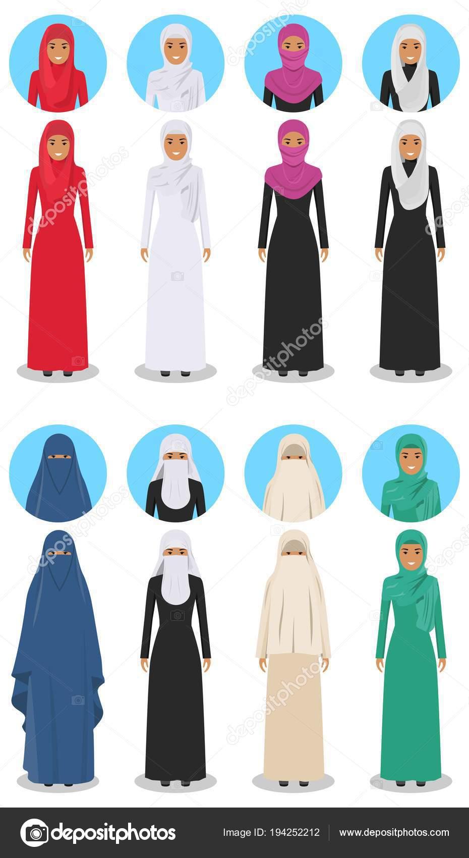 1e7cd513c8669 Concept social et familial. Illustration détaillée de femmes arabes  différentes commandes dans le vêtement musulman arabe traditionnel national  isolé sur ...