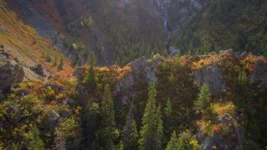 Aerial shot of a small waterfall flowing in canyon with autumn mountain forests