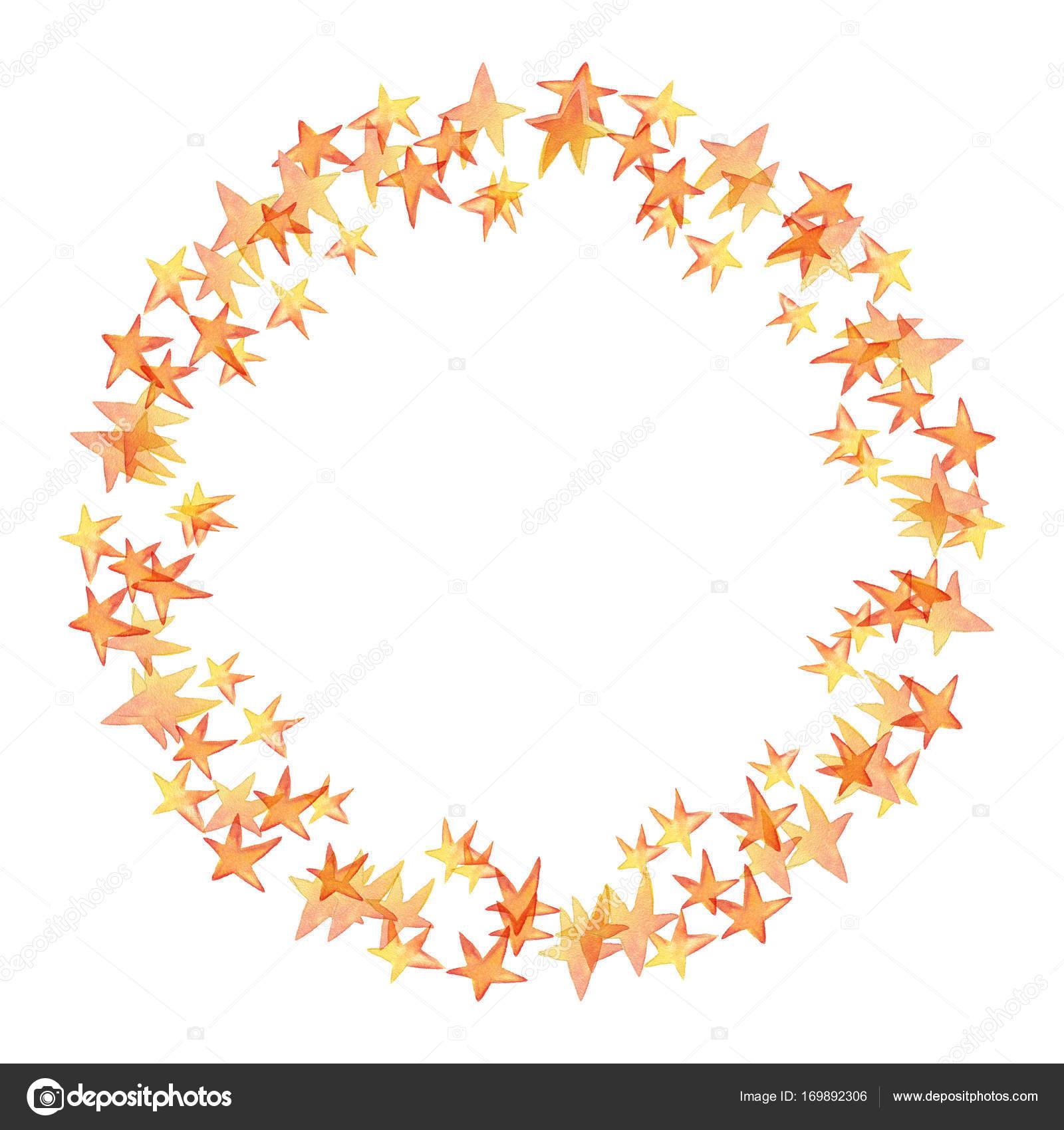 Kranz, Rahmen. Aquarell Sterne — Stockfoto © likorbut #169892306